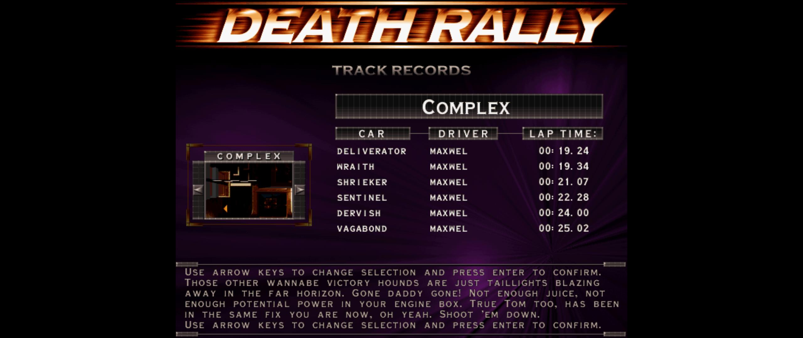 Maxwel: Death Rally [Complex, Shrieker Car] (PC) 0:00:21.07 points on 2016-03-04 07:43:46