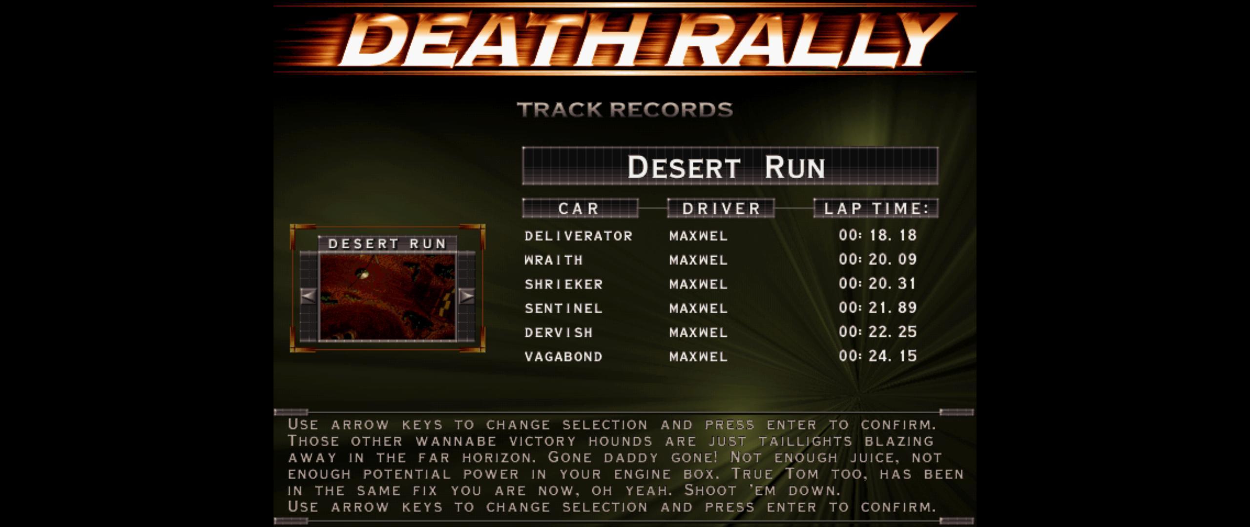 Maxwel: Death Rally [Desert Run, Sentinel Car] (PC) 0:00:21.89 points on 2016-03-04 06:58:00