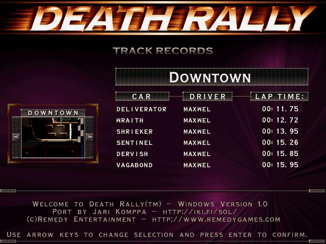 Maxwel: Death Rally [Down Town, Shrieker Car] (PC) 0:00:13.95 points on 2016-03-04 03:56:39