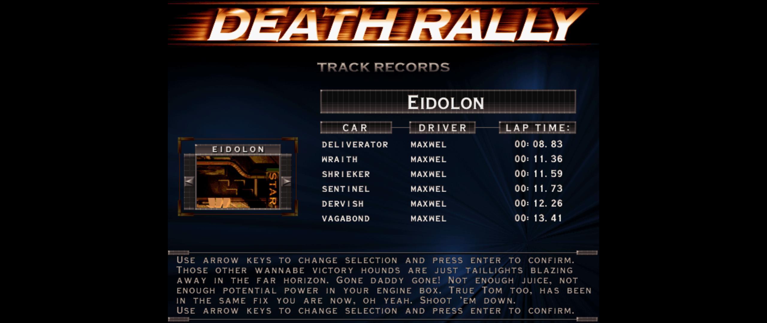Maxwel: Death Rally [Eidolon, Sentinel Car] (PC) 0:00:11.73 points on 2016-03-04 08:09:16