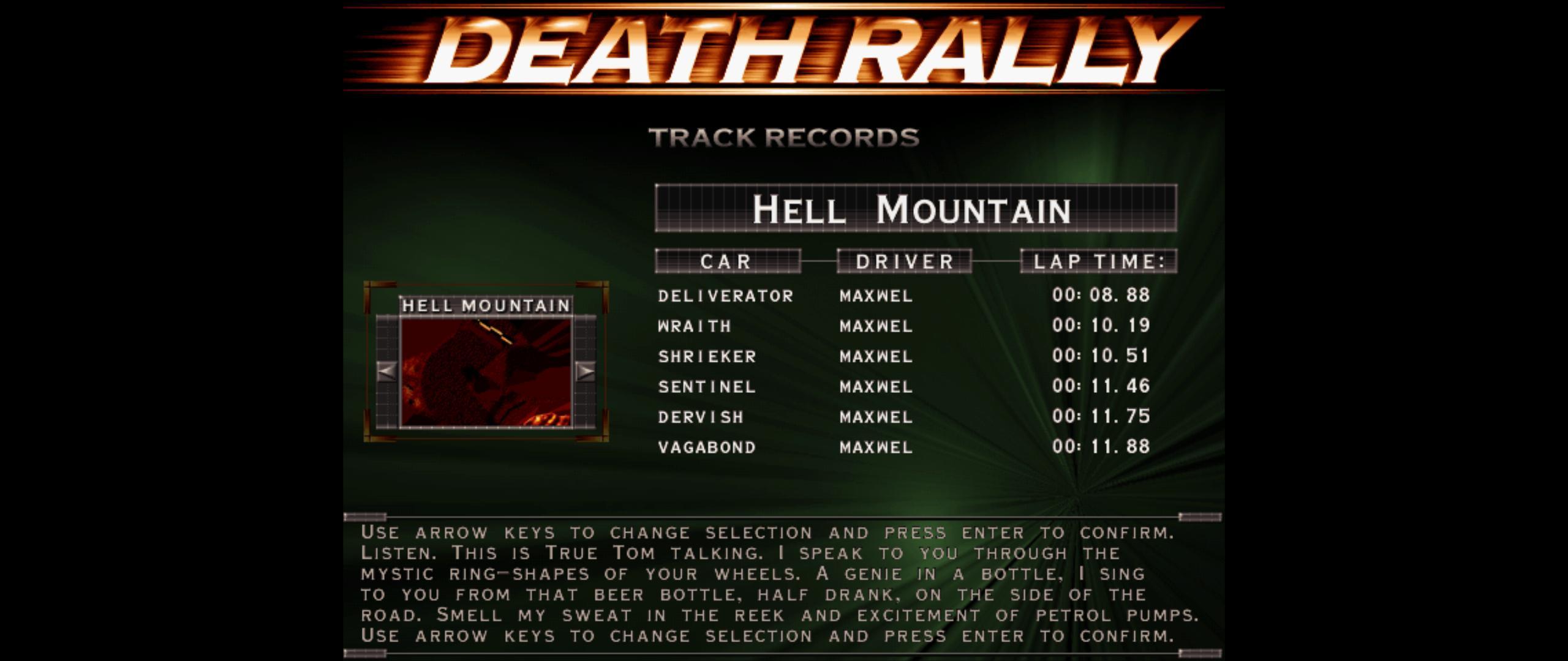 Maxwel: Death Rally [Hell Mountain, Wraith Car] (PC) 0:00:10.19 points on 2016-03-04 06:53:05