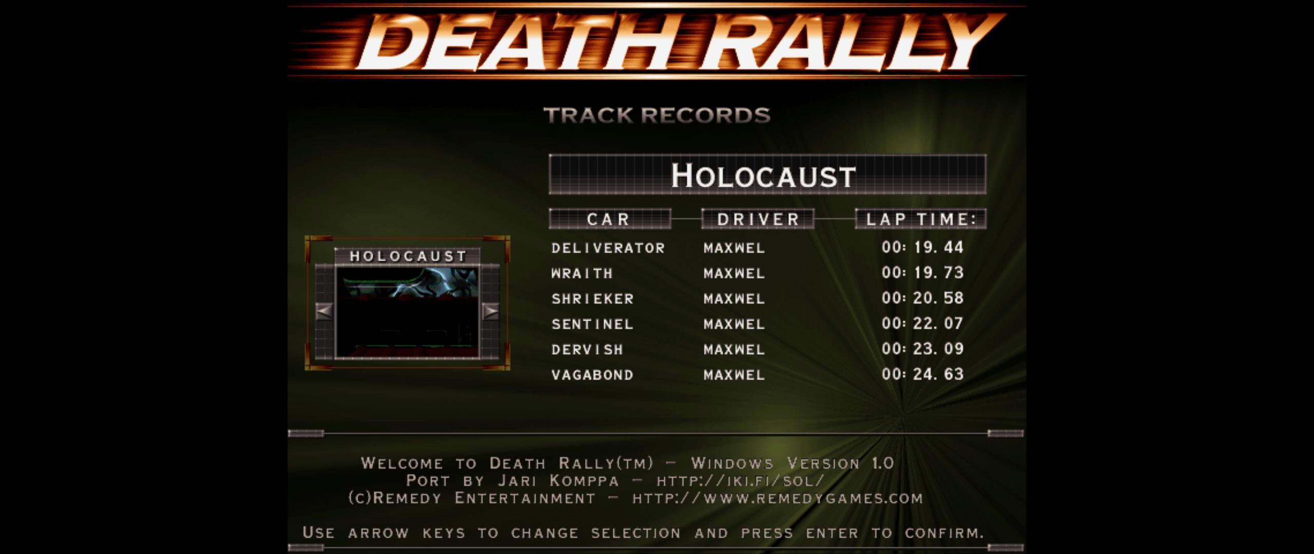 Maxwel: Death Rally [Holocaust, Wraith Car] (PC) 0:00:19.73 points on 2016-03-02 04:19:51