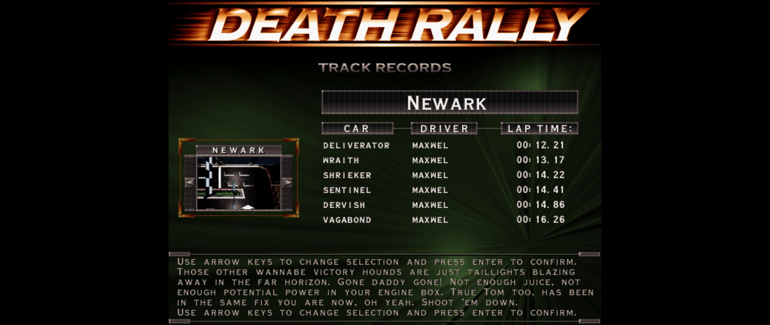 Maxwel: Death Rally [New Ark, Dervish Car Car] (PC) 0:00:14.86 points on 2016-03-04 07:59:44