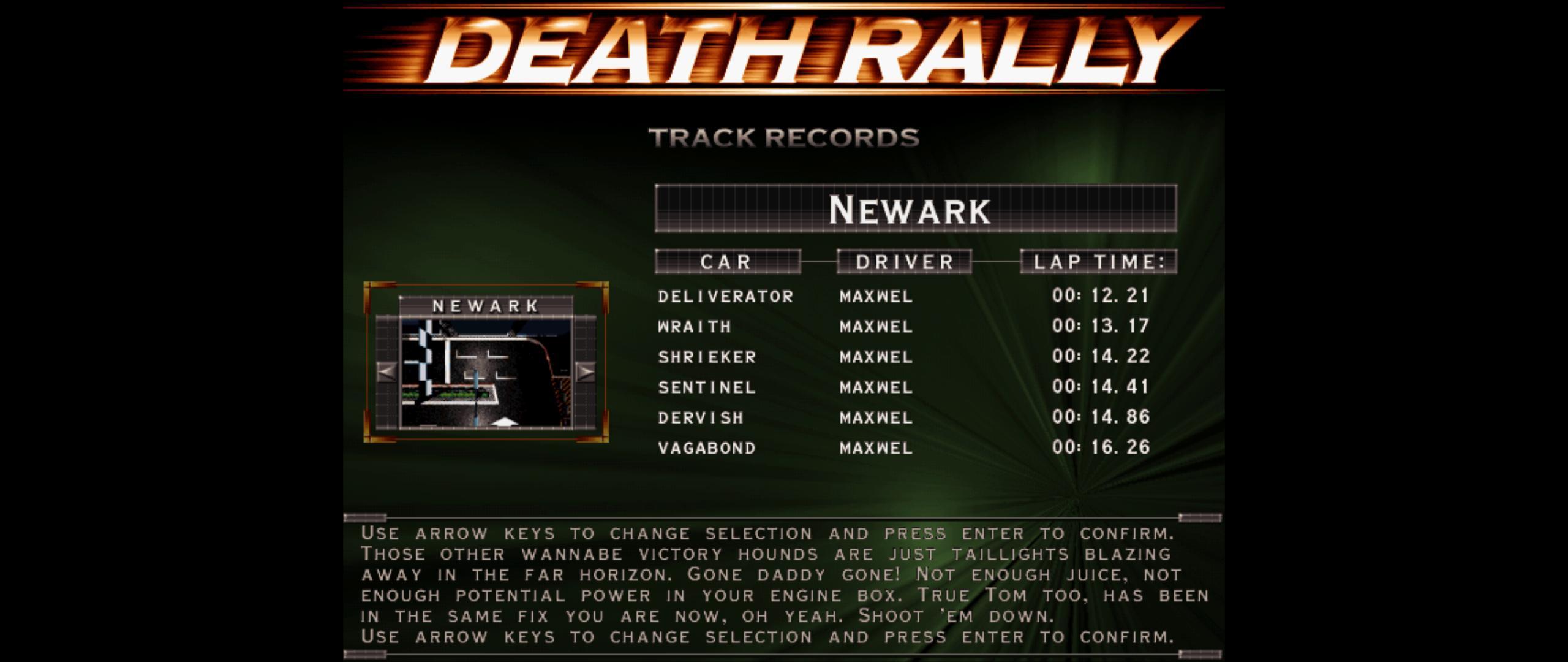 Maxwel: Death Rally [New Ark, Shrieker Car] (PC) 0:00:14.22 points on 2016-03-04 08:03:34