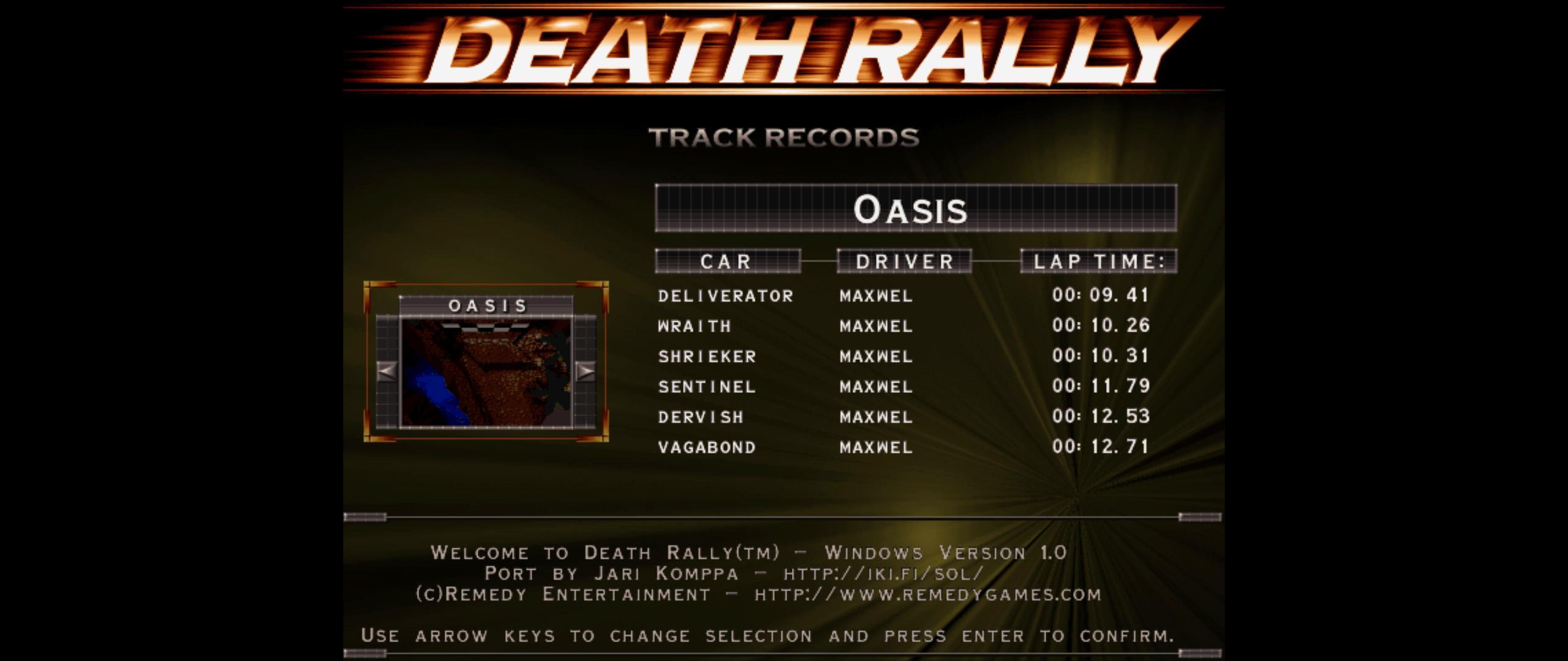 Maxwel: Death Rally [Oasis, Wraith Car] (PC) 0:00:10.26 points on 2016-03-02 06:42:22