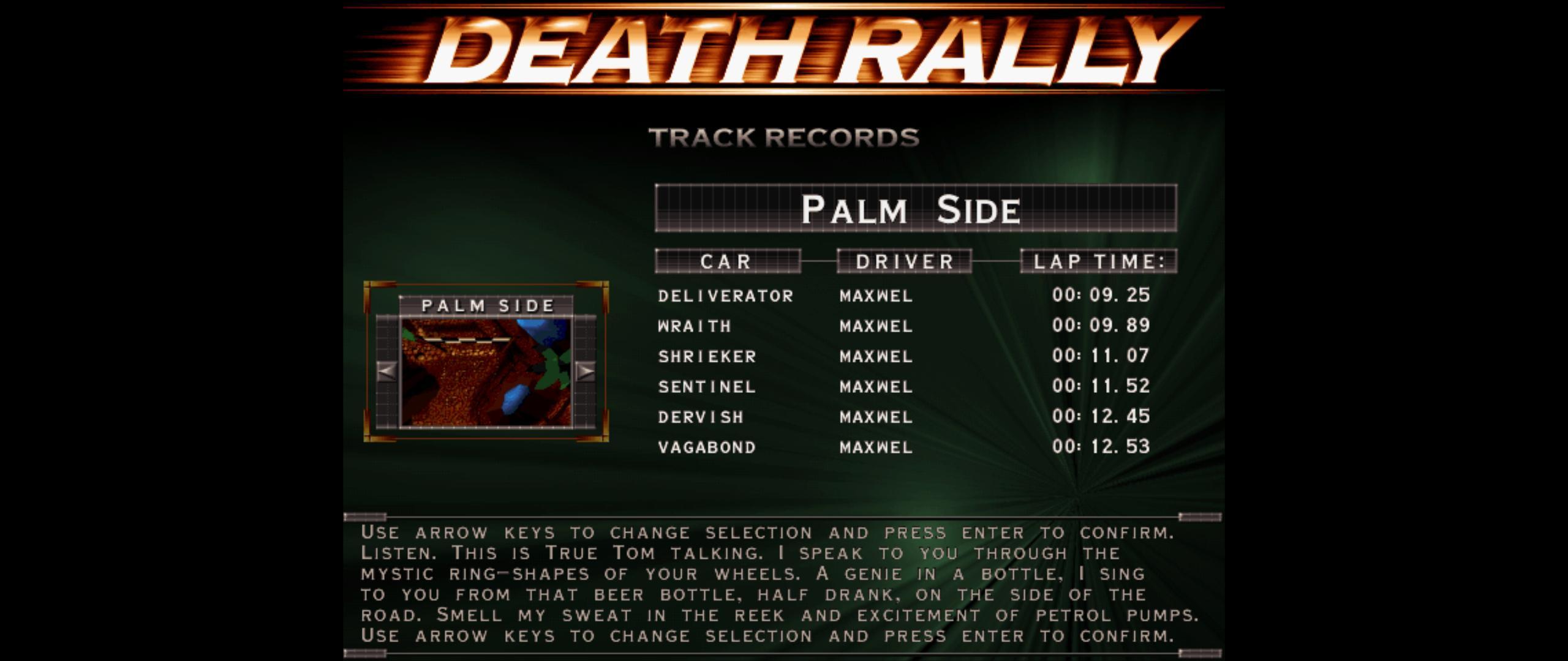 Maxwel: Death Rally [Palm Side, Shrieker Car] (PC) 0:00:11.07 points on 2016-03-04 06:45:22