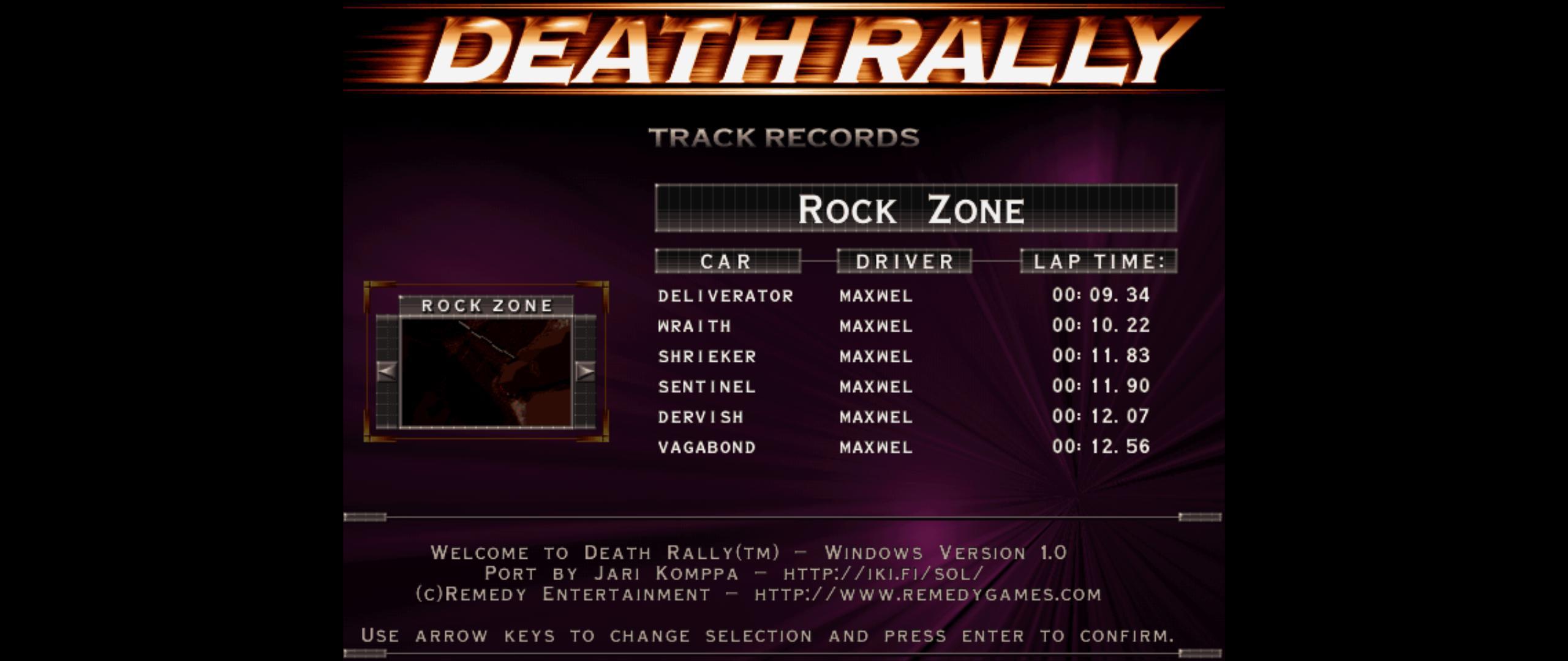 Maxwel: Death Rally [Rock Zone, Wraith Car] (PC) 0:00:10.22 points on 2016-03-03 02:54:09