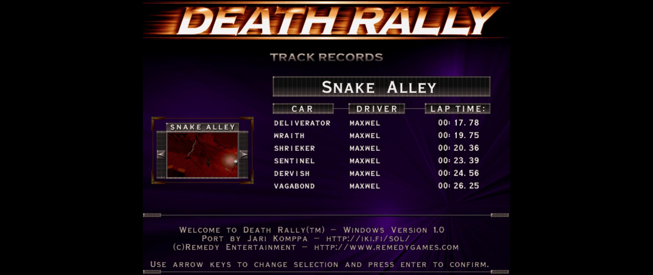 Maxwel: Death Rally [Snake Alley, Shrieker Car] (PC) 0:00:20.36 points on 2016-03-03 03:04:59