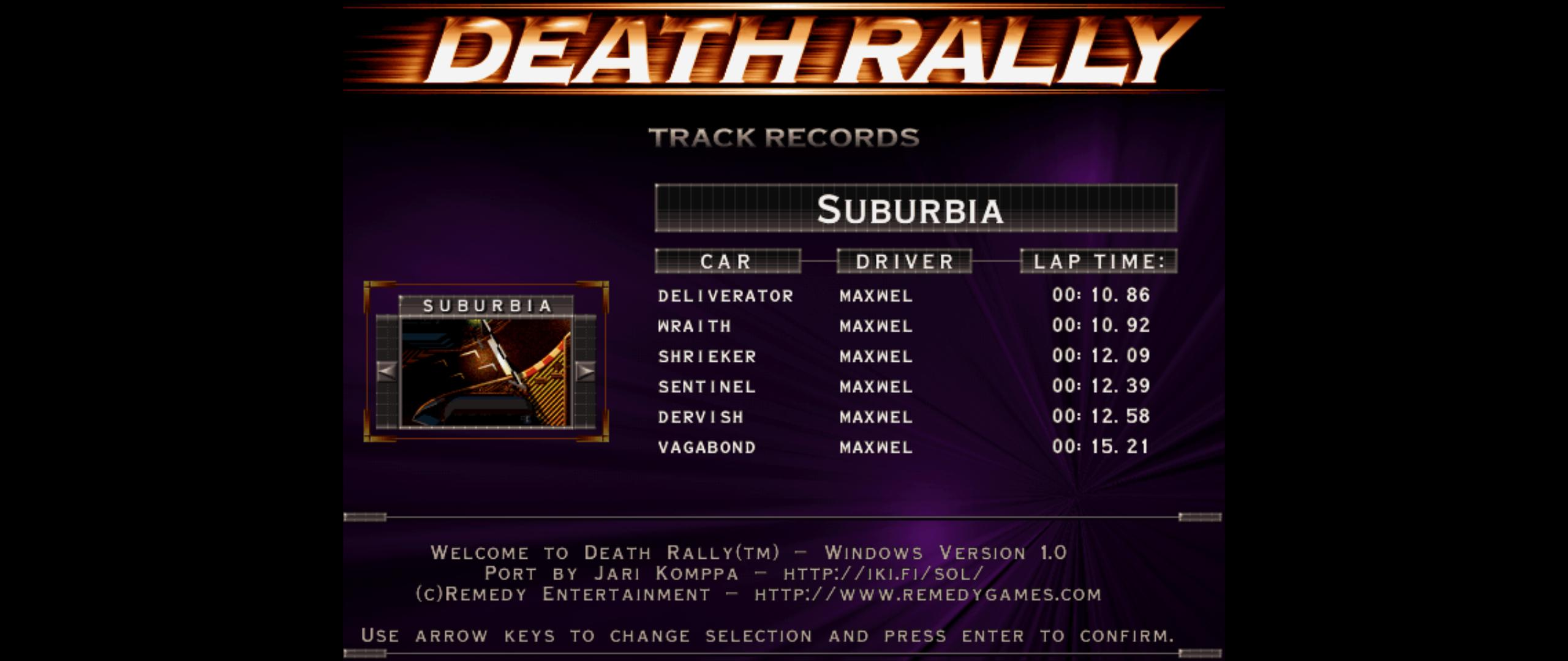 Maxwel: Death Rally [Suburbia, Sentinel Car] (PC) 0:00:12.39 points on 2016-03-01 14:40:10