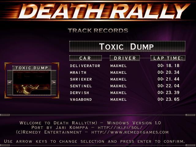 Maxwel: Death Rally [Toxic Dump, Sentinel Car] (PC) 0:00:22.04 points on 2016-03-04 06:40:08