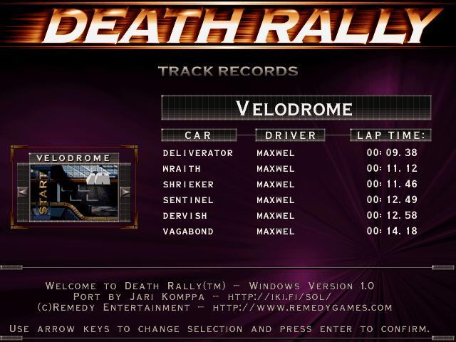Maxwel: Death Rally [Velodrome, Vagabond Car] (PC) 0:00:14.18 points on 2016-03-04 05:26:33