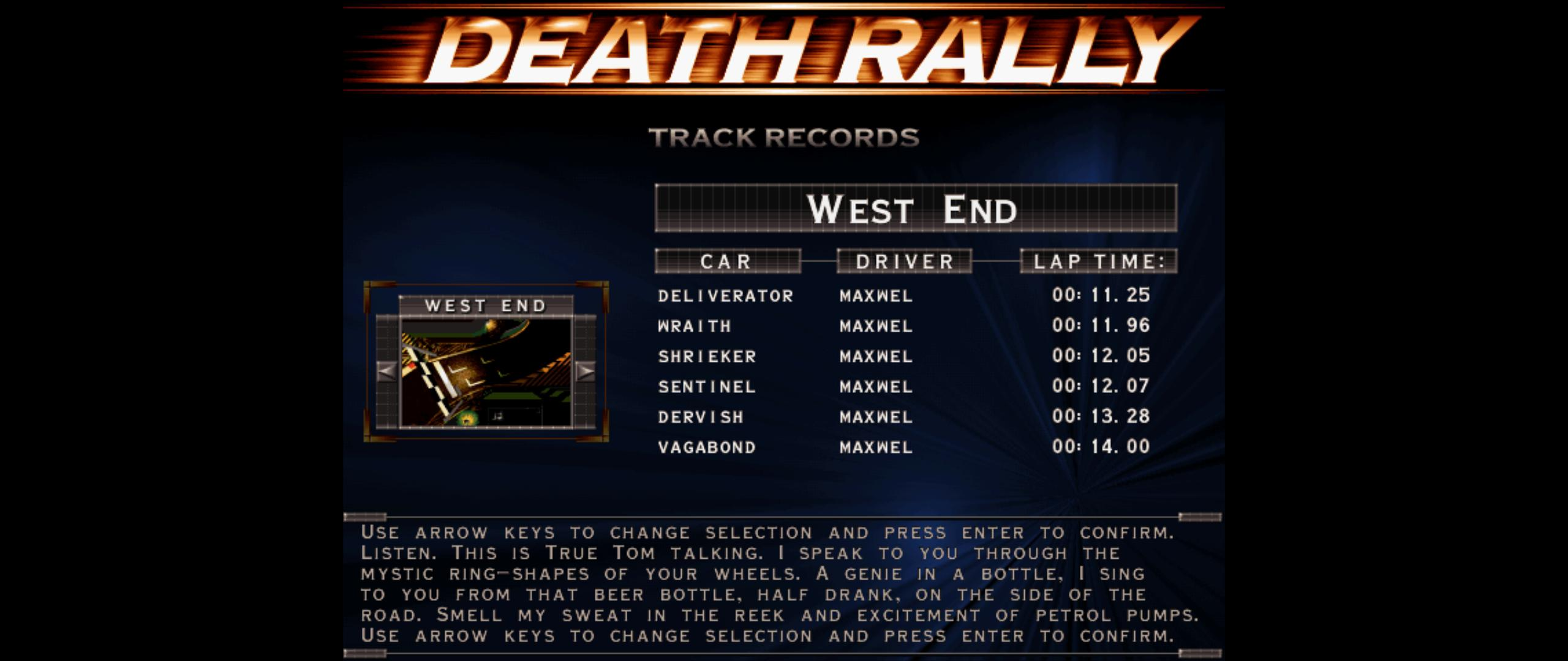 Maxwel: Death Rally [West End, Dervish Car Car] (PC) 0:00:13.28 points on 2016-03-04 05:37:29