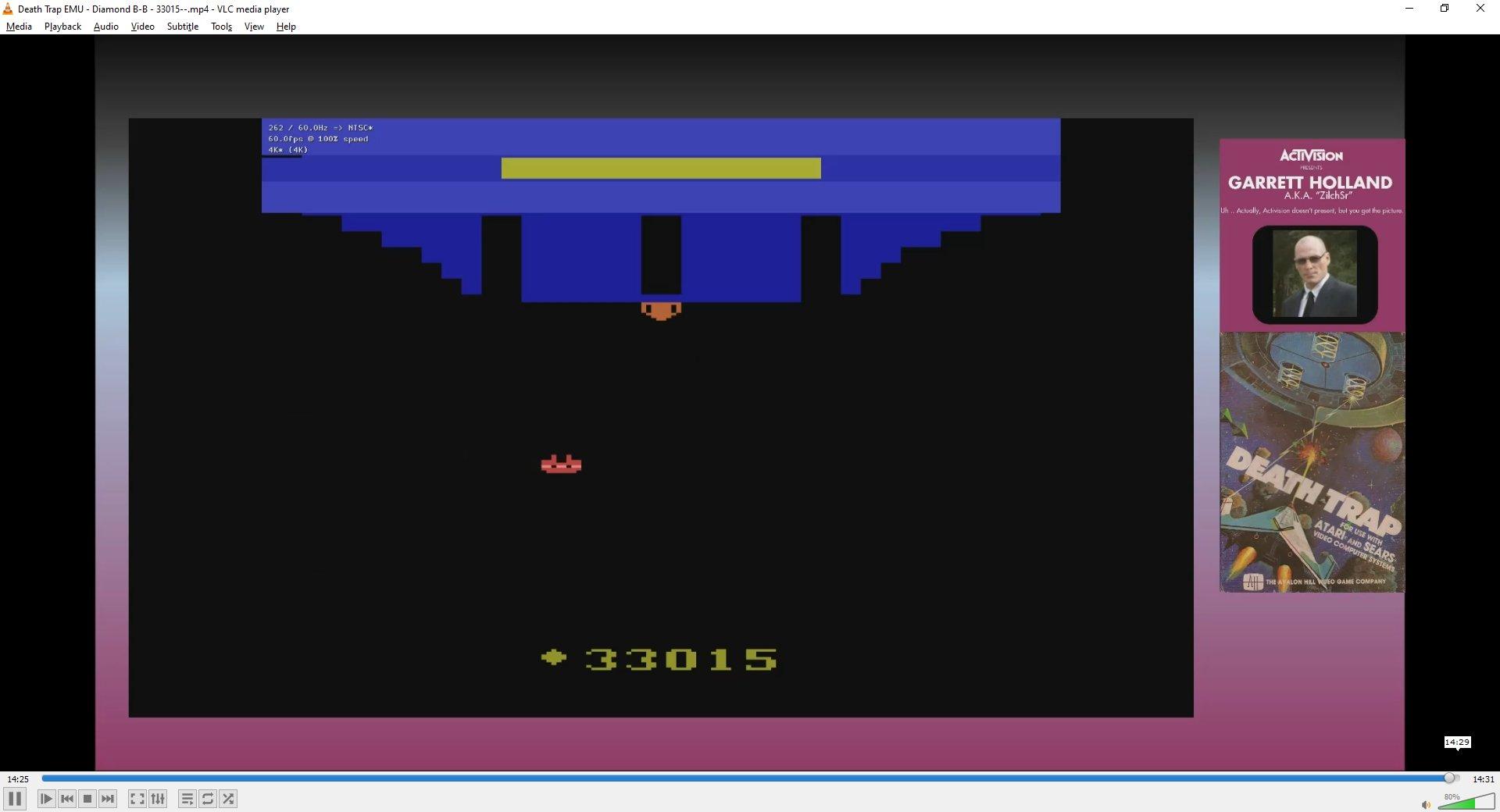 ZilchSr: Death Trap: Hard (Atari 2600 Emulated) 33,015 points on 2021-01-02 20:32:17