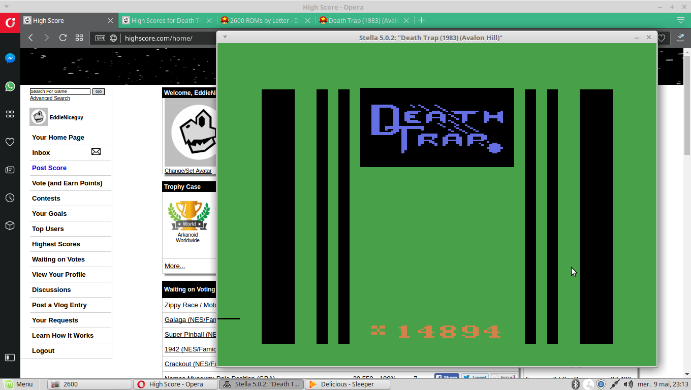 EddieNiceguy: Death Trap: Normal (Atari 2600 Emulated) 14,894 points on 2018-05-09 16:13:59