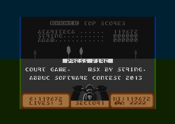 atariteca: Deathchase XE (Atari 400/800/XL/XE Emulated) 119,672 points on 2016-08-19 12:33:02