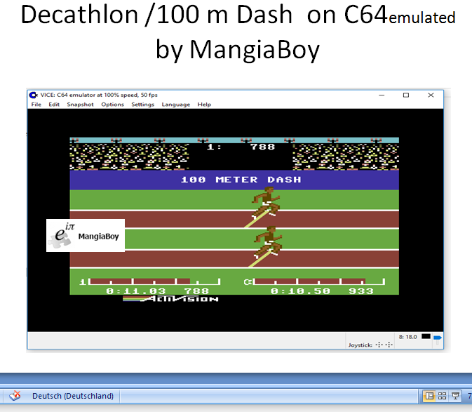 MangiaBoy: Decathlon: 100m Dash (Commodore 64 Emulated) 0:00:11.03 points on 2017-06-01 16:08:09