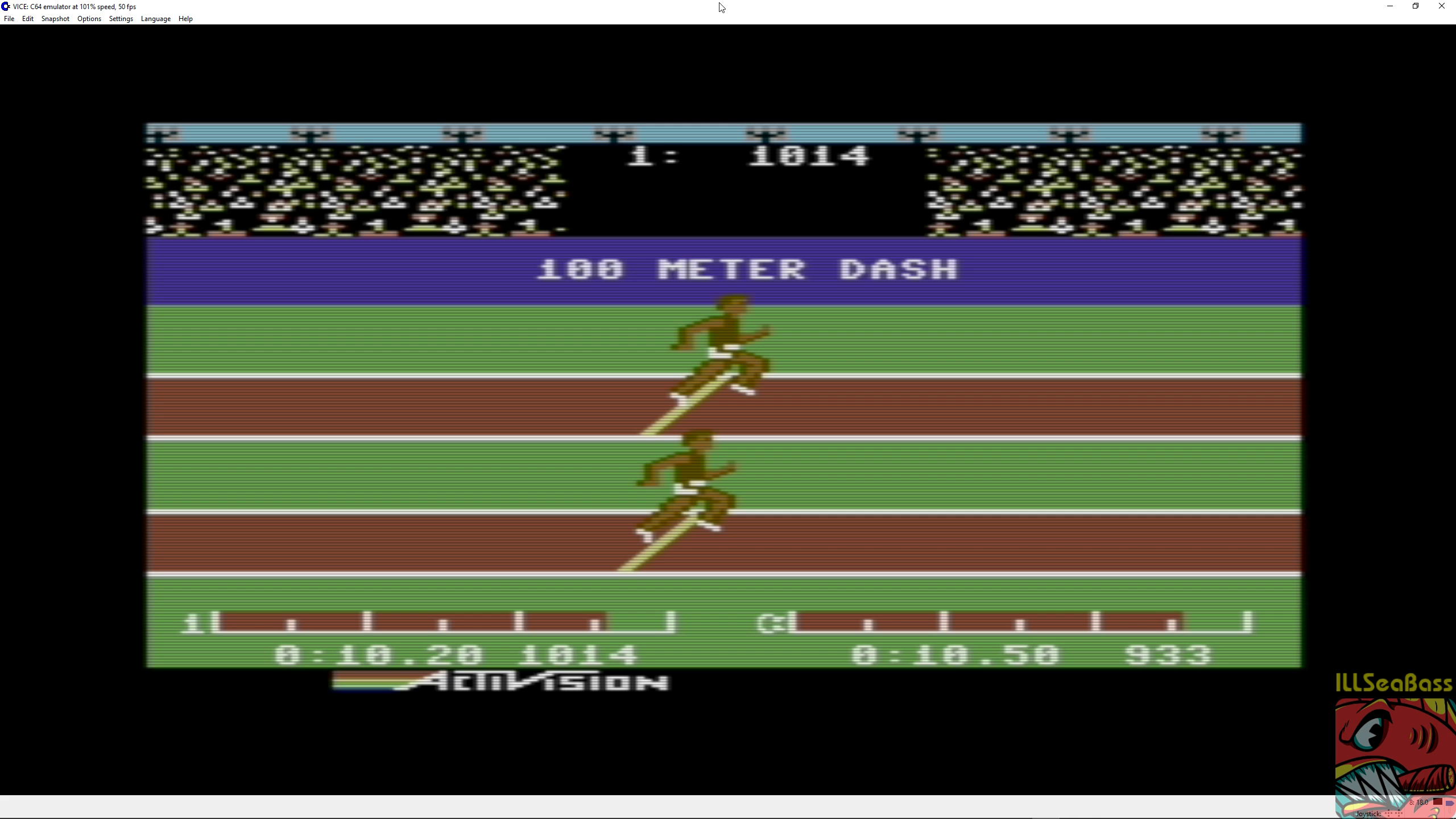 ILLSeaBass: Decathlon: 100m Dash (Commodore 64 Emulated) 0:00:10.2 points on 2018-06-30 12:19:11