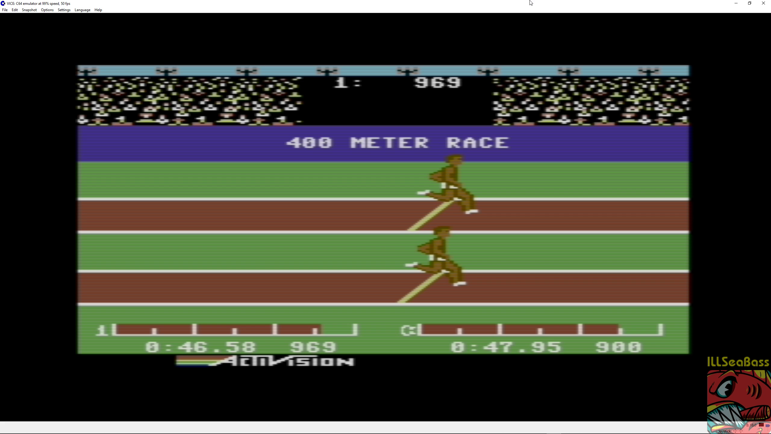 ILLSeaBass: Decathlon: 400m Race (Commodore 64 Emulated) 0:00:46.58 points on 2018-06-30 12:20:56