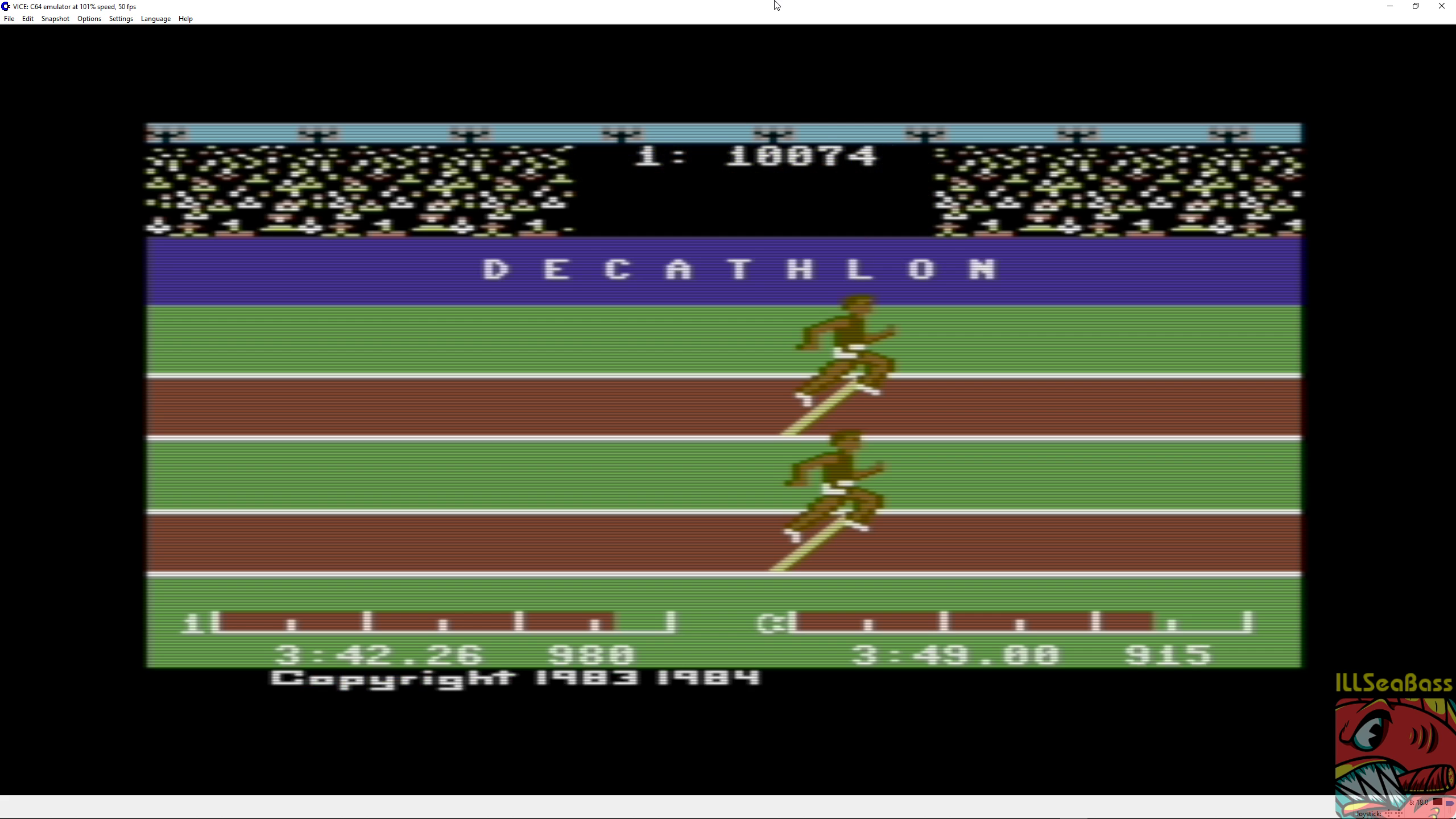 ILLSeaBass: Decathlon (Commodore 64 Emulated) 10,074 points on 2018-07-01 23:31:44