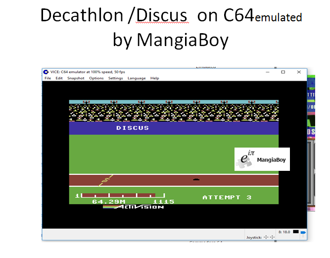 MangiaBoy: Decathlon: Discus [Meters] (Commodore 64 Emulated) 6,429 points on 2017-05-28 20:04:56