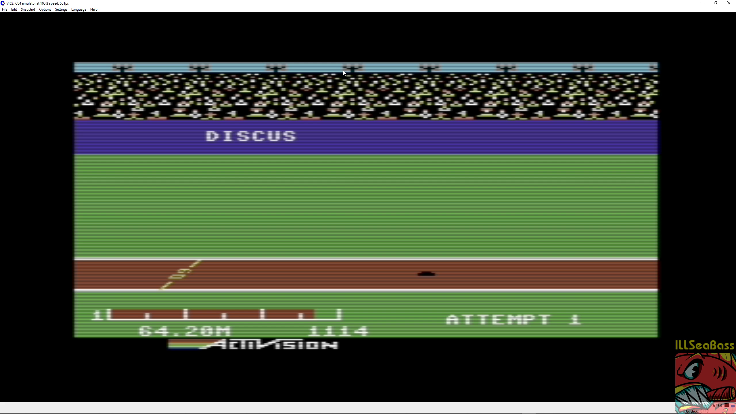 ILLSeaBass: Decathlon: Discus [Meters] (Commodore 64 Emulated) 6,420 points on 2018-06-30 12:17:25