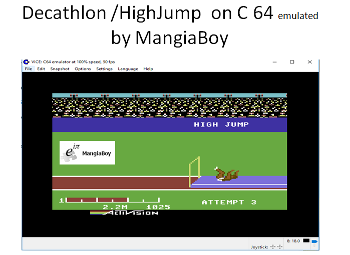 MangiaBoy: Decathlon: High Jump [Meters] (Commodore 64 Emulated) 22 points on 2017-05-30 17:14:09