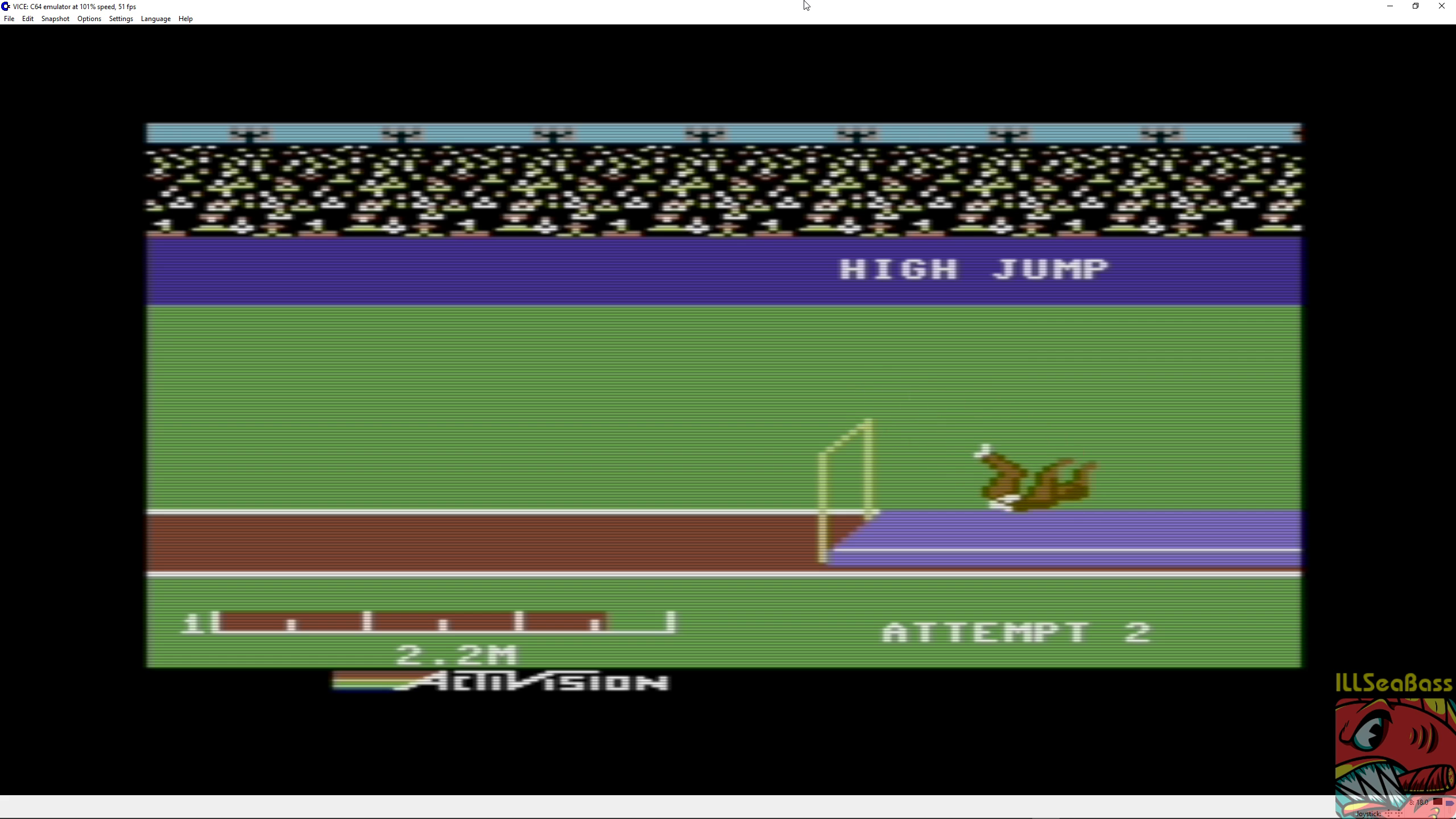 ILLSeaBass: Decathlon: High Jump [Meters] (Commodore 64 Emulated) 22 points on 2018-06-30 17:35:47