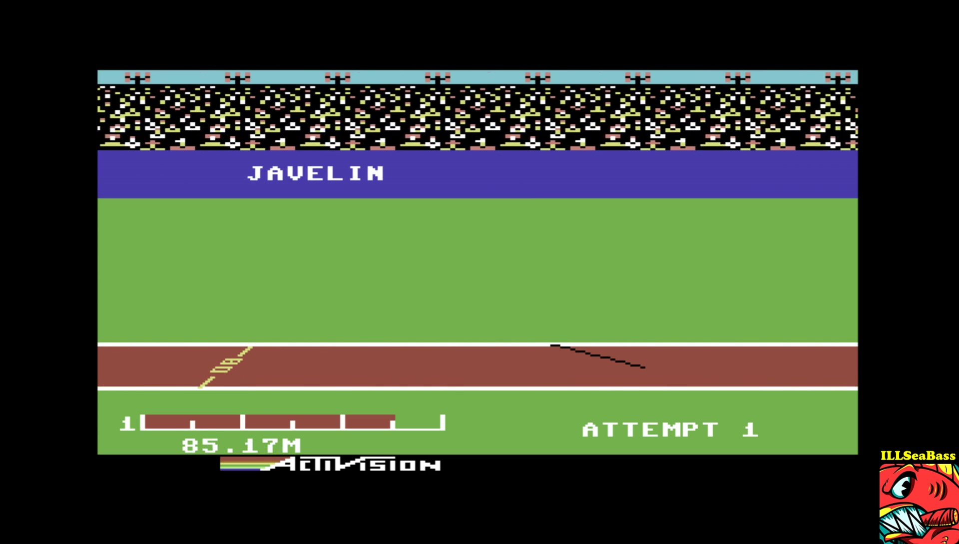 ILLSeaBass: Decathlon: Javelin [Meters] (Commodore 64 Emulated) 8,517 points on 2017-04-03 22:23:19