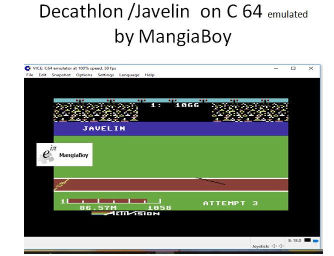 MangiaBoy: Decathlon: Javelin [Meters] (Commodore 64 Emulated) 8,657 points on 2017-05-30 14:05:37