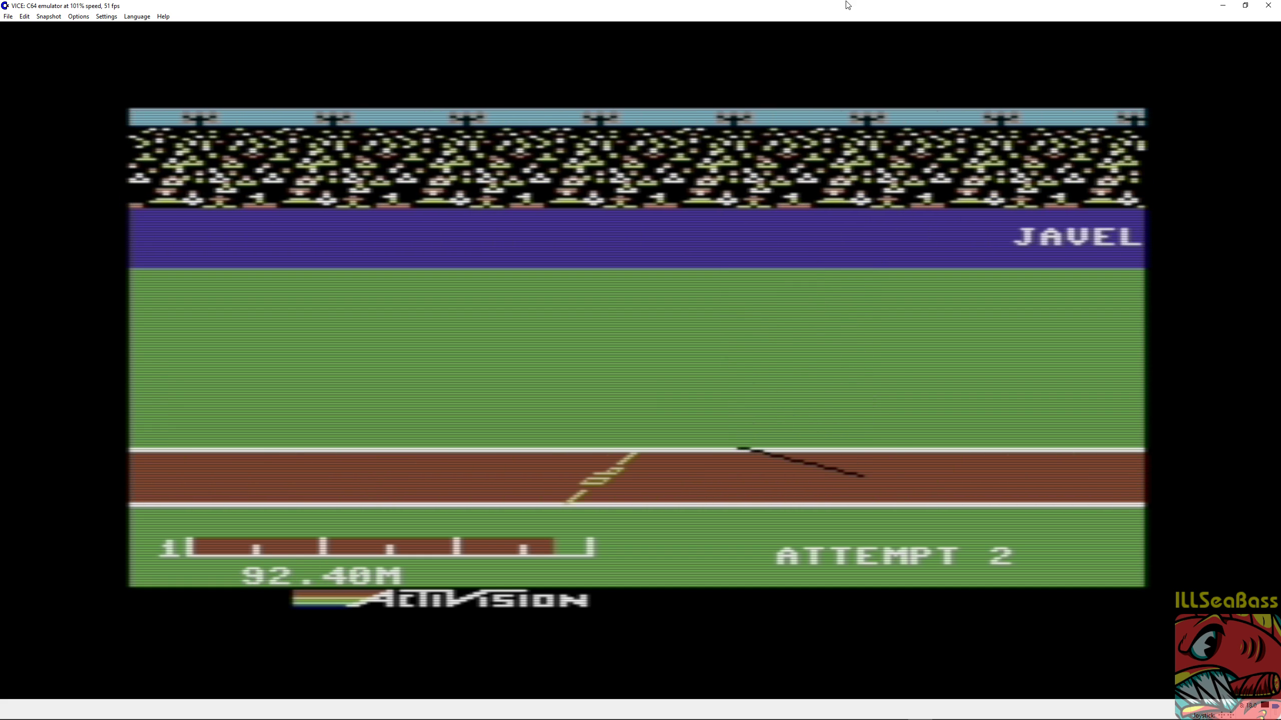 ILLSeaBass: Decathlon: Javelin [Meters] (Commodore 64 Emulated) 9,240 points on 2018-06-30 12:18:20