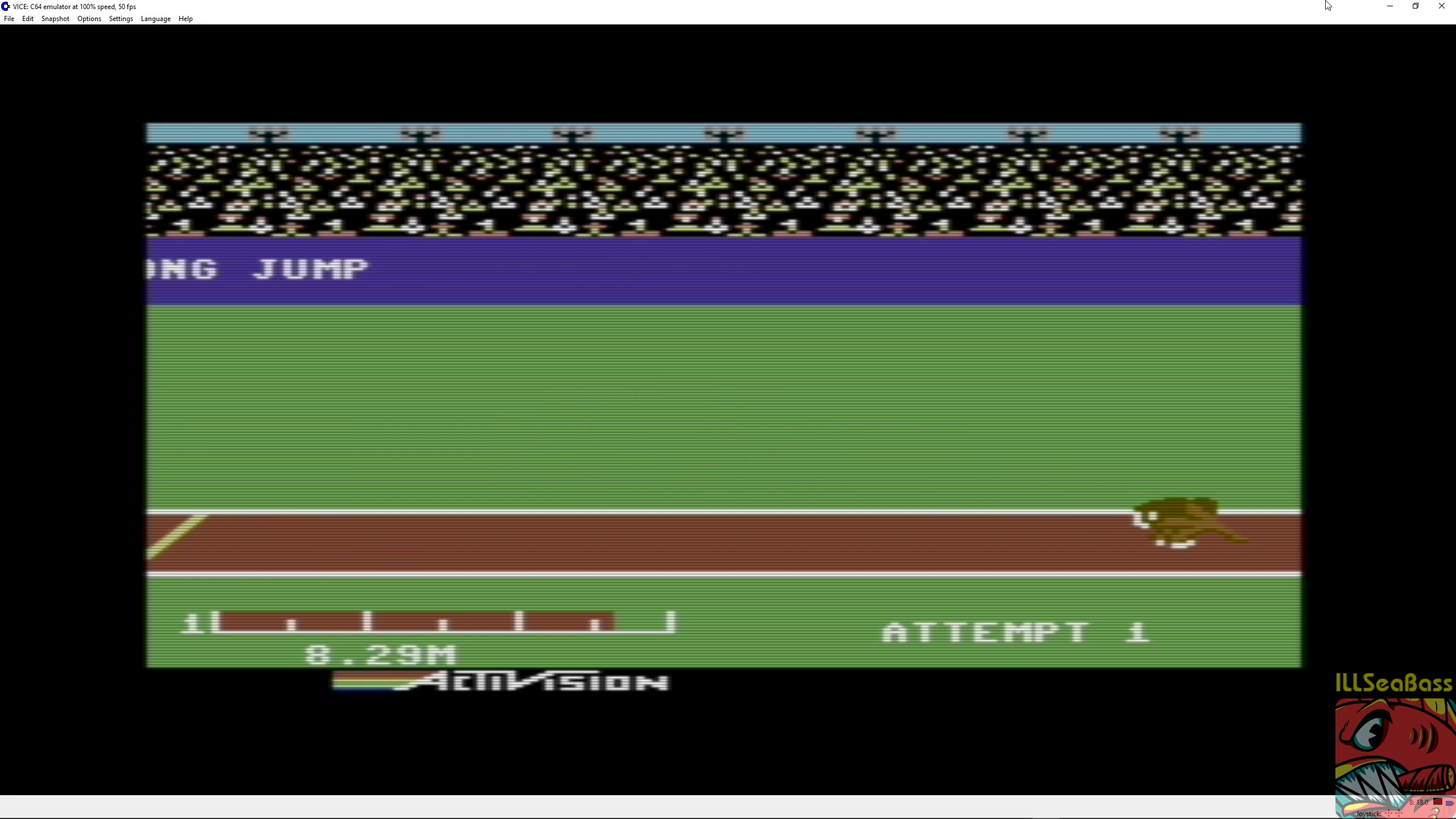 ILLSeaBass: Decathlon: Long Jump [Meters] (Commodore 64 Emulated) 829 points on 2018-06-30 12:18:49