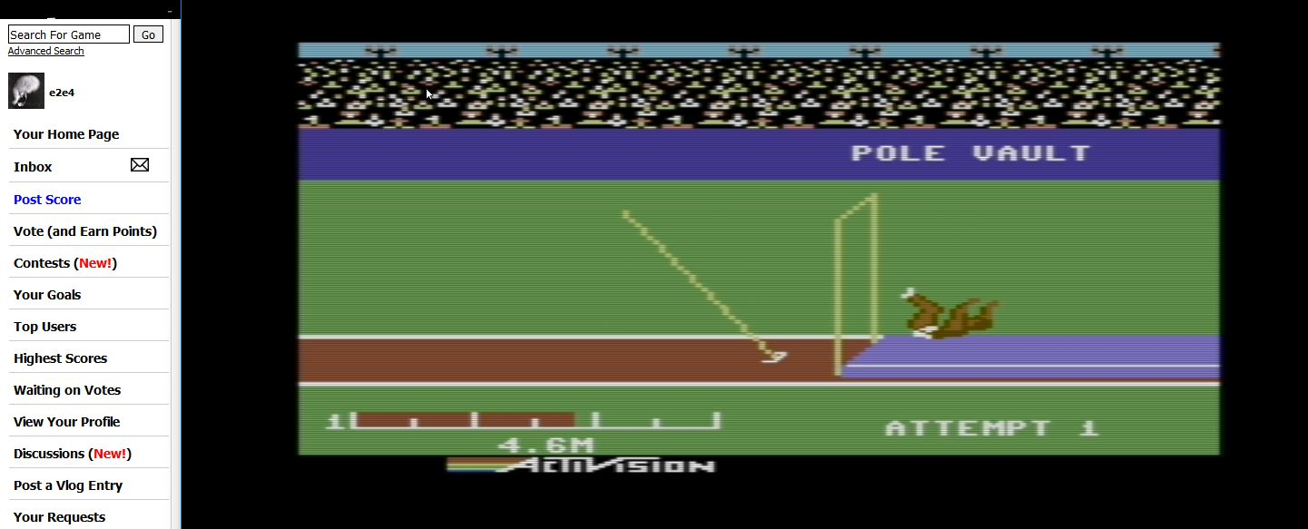 e2e4: Decathlon: Pole Vault [Meters] (Commodore 64 Emulated) 46 points on 2017-10-21 14:06:51