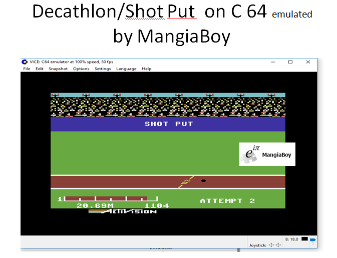 MangiaBoy: Decathlon: Shot Put [Meters] (Commodore 64 Emulated) 2,069 points on 2017-05-28 20:06:04
