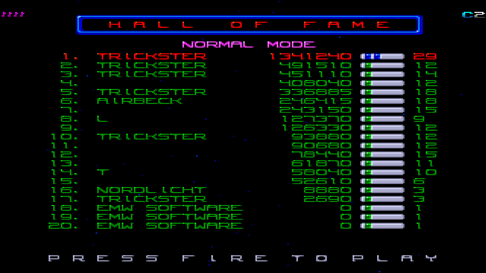 TheTrickster: Deluxe Galaga: Normal (Amiga Emulated) 1,341,240 points on 2015-08-02 07:04:33