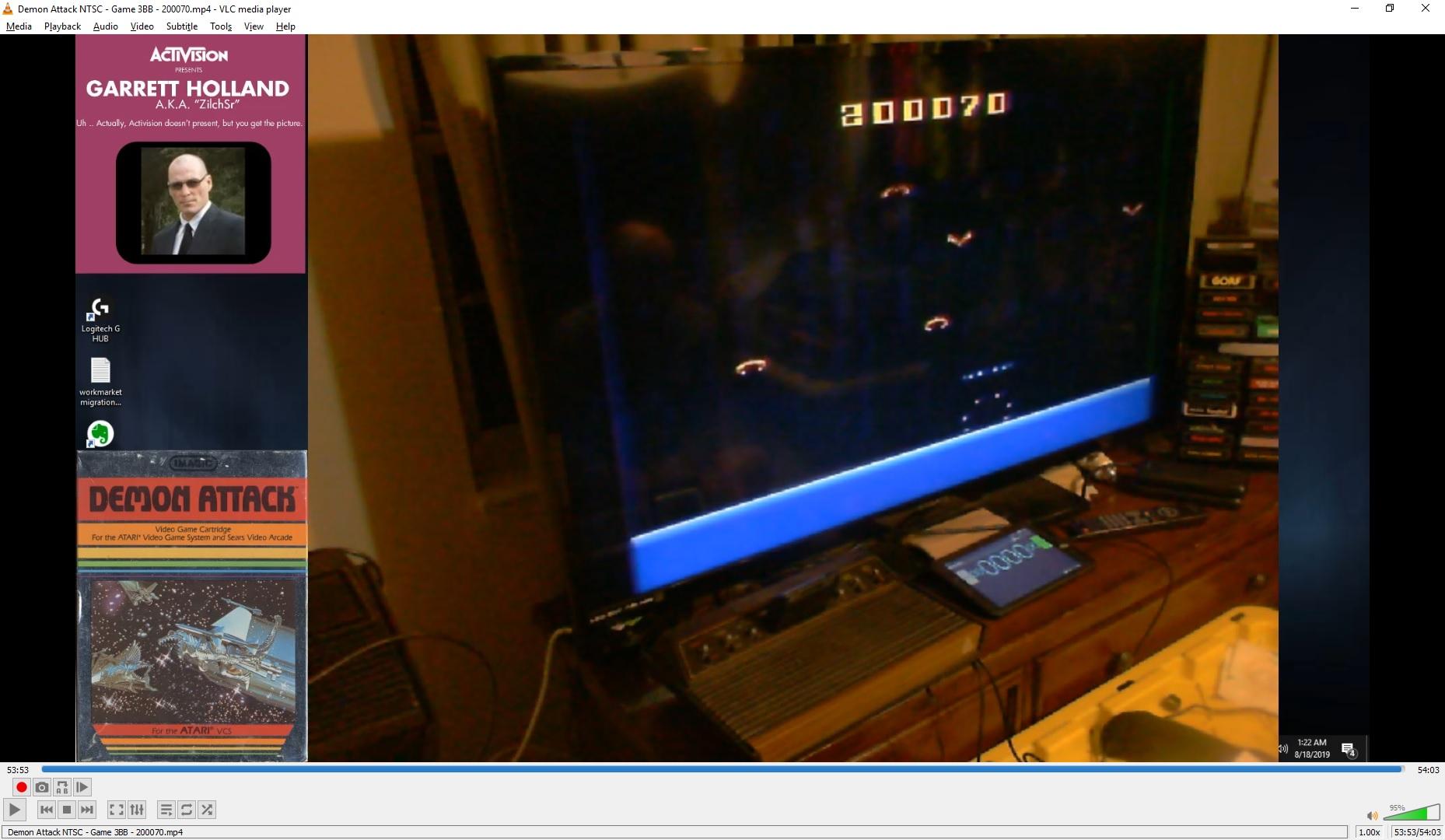 ZilchSr: Demon Attack: Game 3 (Atari 2600 Novice/B) 200,070 points on 2019-08-18 01:36:57