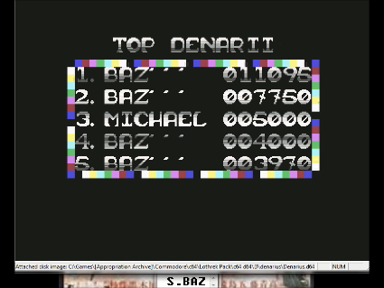 S.BAZ: Denarius [Firebird] (Commodore 64 Emulated) 11,095 points on 2016-05-26 14:41:46