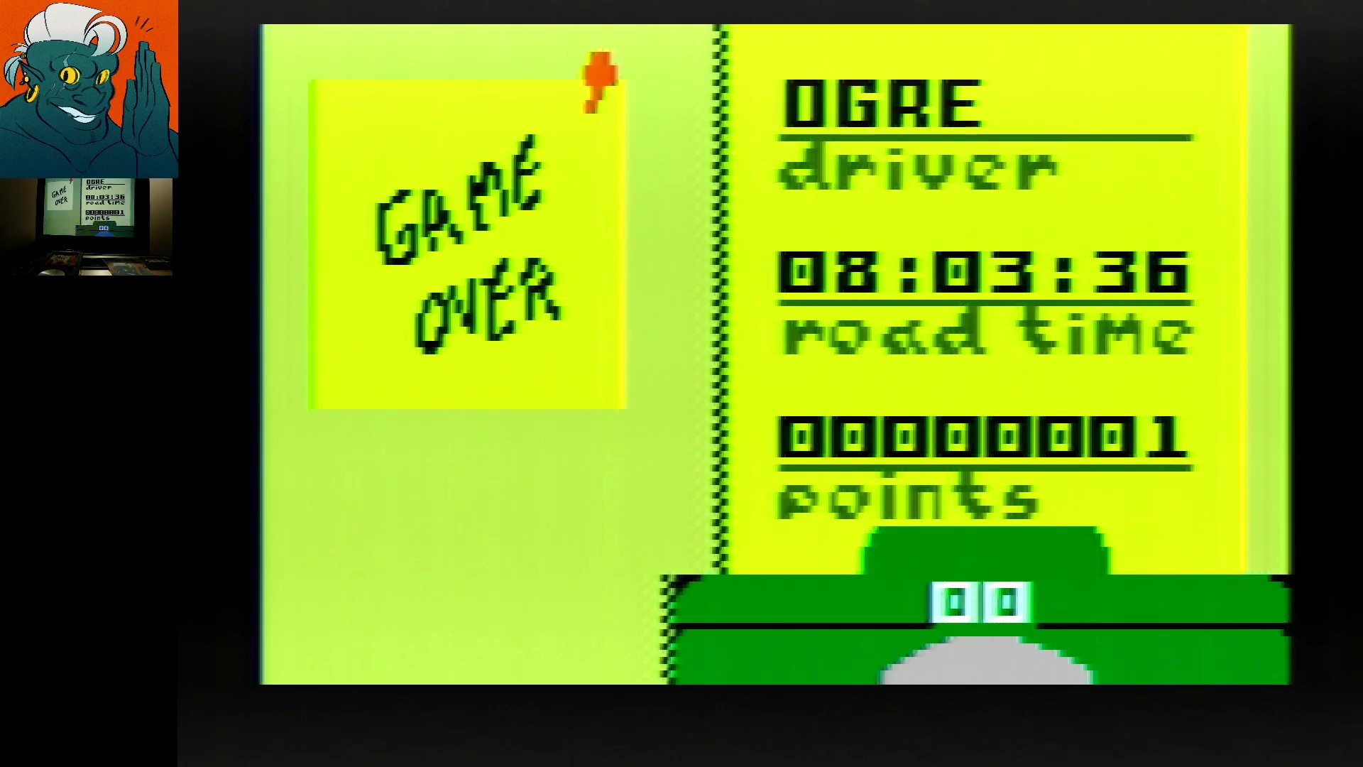 AwesomeOgre: Desert Bus (Intellivision) 1 points on 2019-11-30 17:13:36
