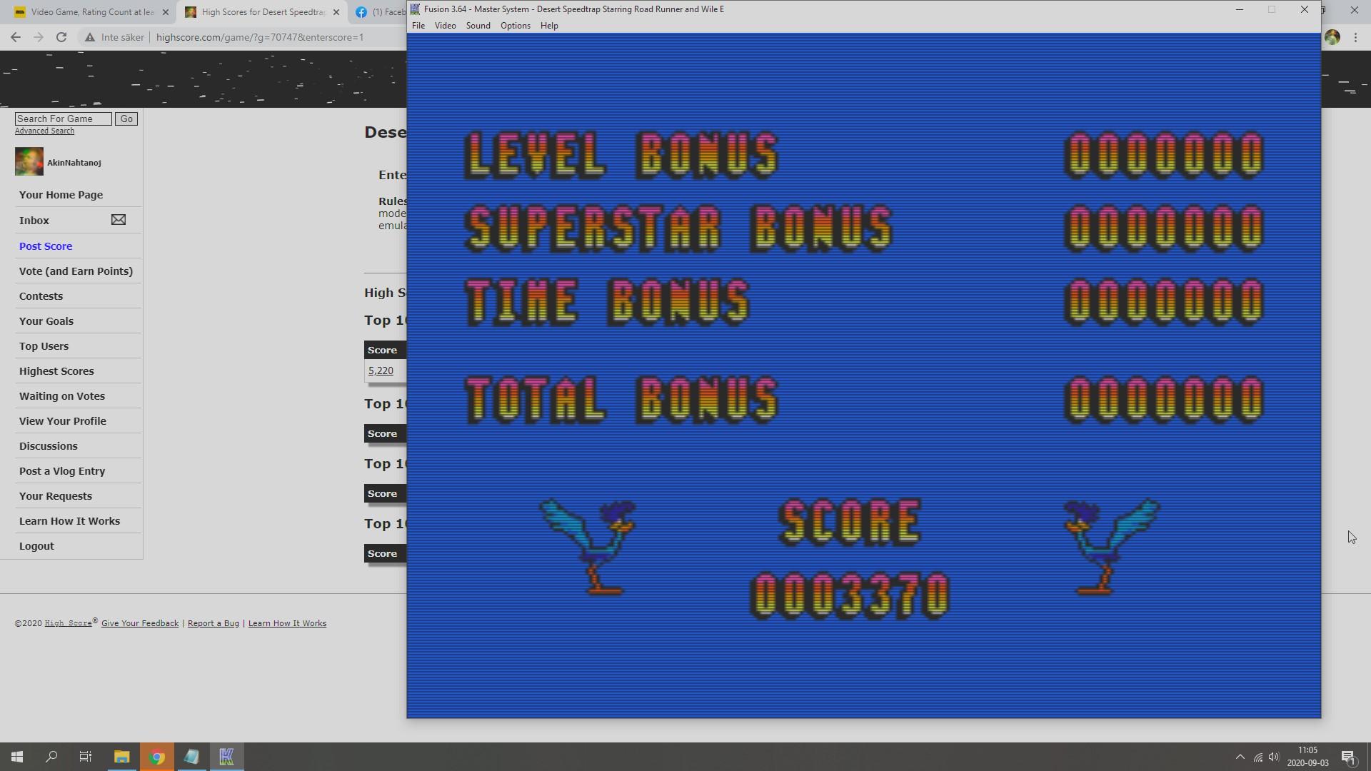 AkinNahtanoj: Desert Speedtrap (Sega Master System Emulated) 3,370 points on 2020-09-03 04:20:42
