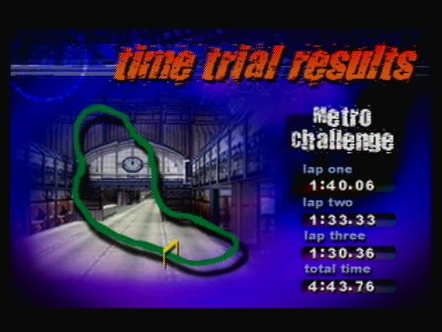 derek: Destruction Derby 64: Time Trial [Metro Challenge / Fastest Lap] (N64) 0:01:30.36 points on 2016-04-19 13:19:27