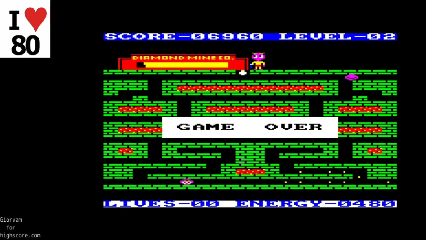 Giorvam: Diamond Mine (Amstrad CPC Emulated) 6,960 points on 2019-12-18 13:39:55