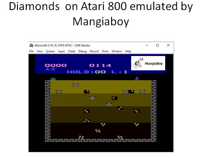 MangiaBoy: Diamonds (Atari 400/800/XL/XE Emulated) 114 points on 2018-12-30 07:08:31