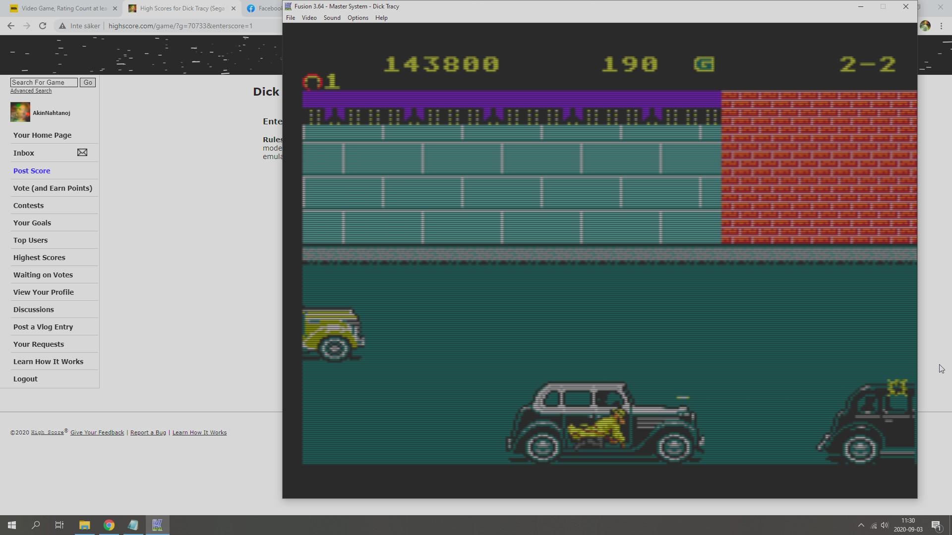 AkinNahtanoj: Dick Tracy (Sega Master System Emulated) 143,800 points on 2020-09-03 04:43:46
