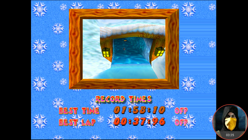 omargeddon: Diddy Kong Racing: Tracks [Everfrost Peak] (N64 Emulated) 0:01:58.1 points on 2018-03-10 15:23:16