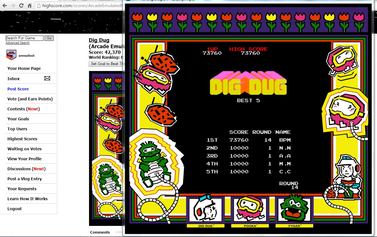 arenafoot: Dig Dug (Arcade Emulated / M.A.M.E.) 73,760 points on 2016-02-23 15:15:08