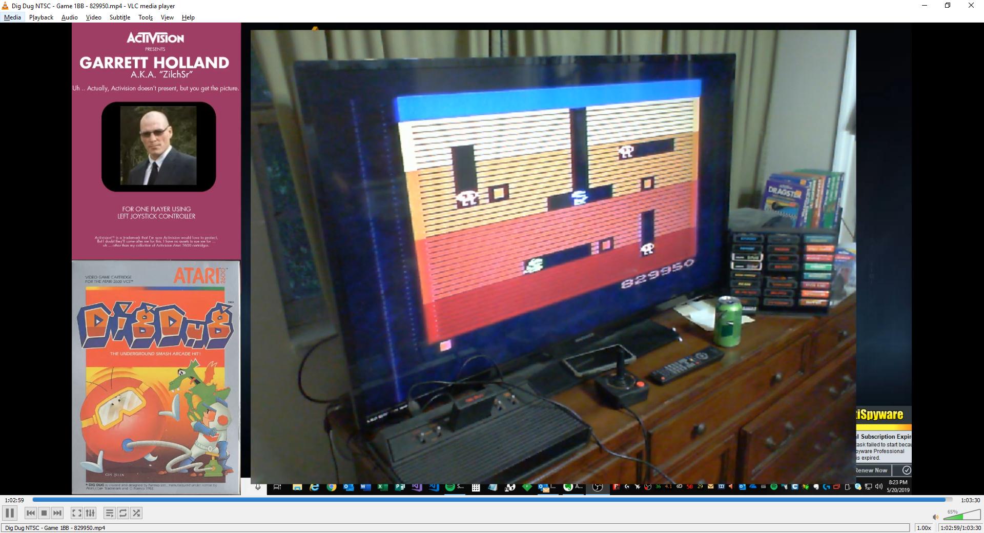 ZilchSr: Dig Dug (Atari 2600) 829,950 points on 2019-05-20 20:48:03