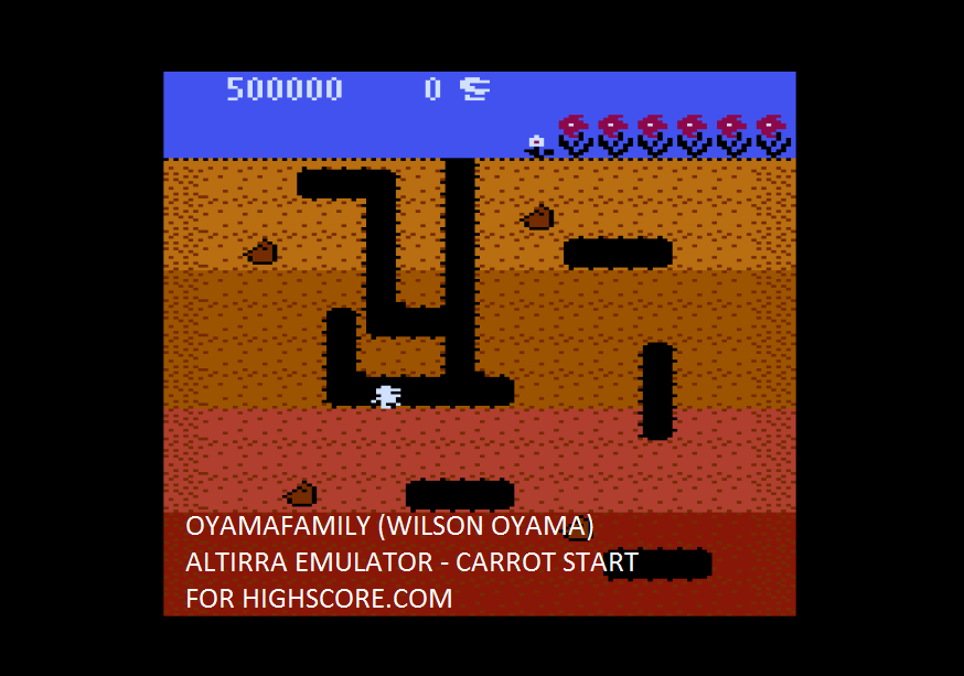 oyamafamily: Dig Dug: Carrot Start (Atari 5200 Emulated) 500,000 points on 2016-02-06 12:27:05