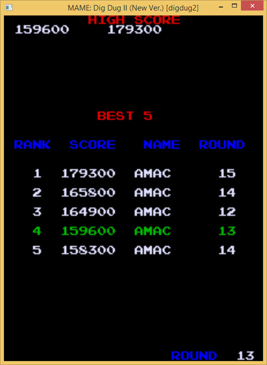 amactx86: Dig Dug II (Arcade Emulated / M.A.M.E.) 179,300 points on 2015-09-28 00:42:48