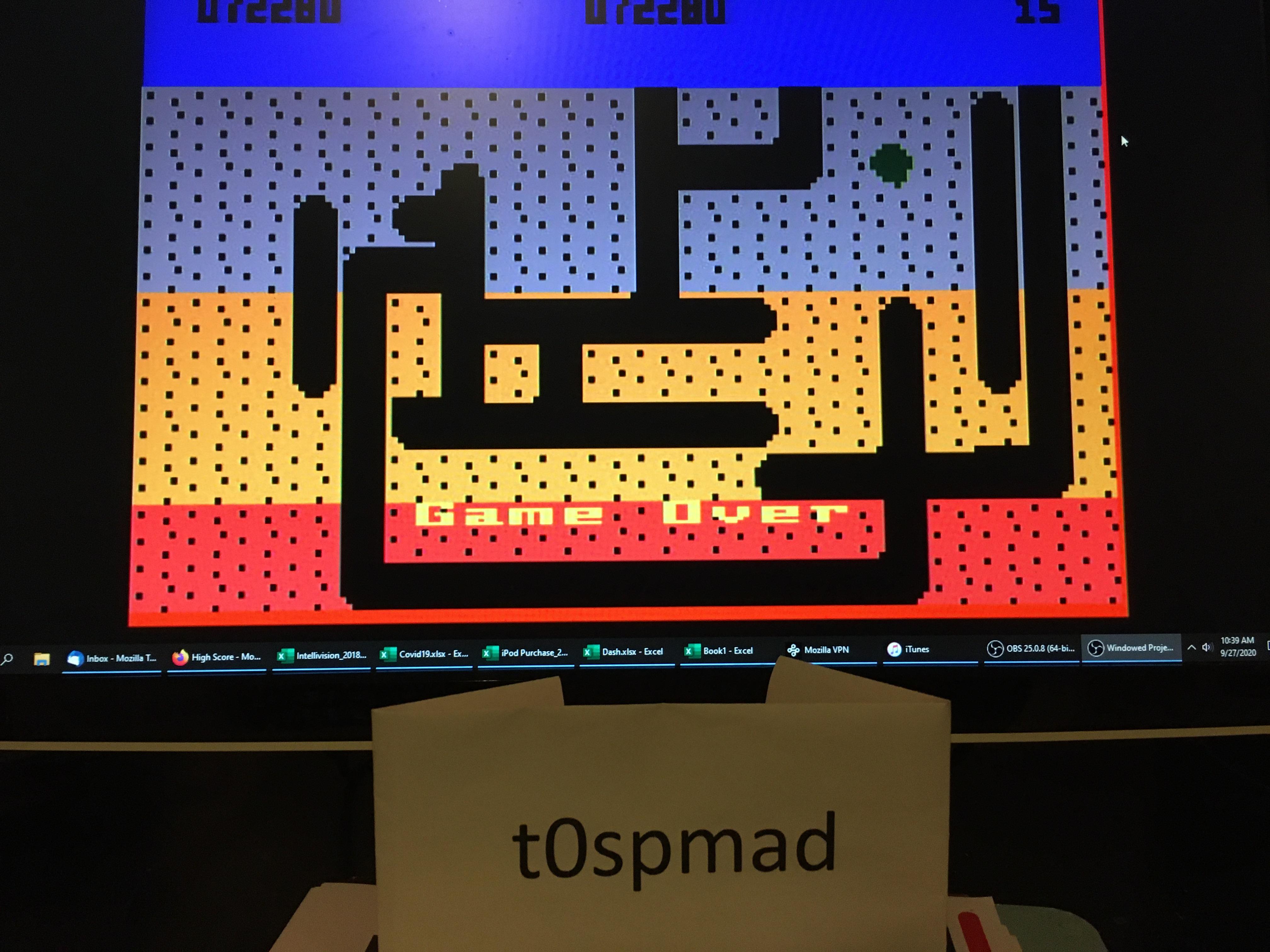 t0spmad: Dig Dug (Intellivision Emulated) 72,280 points on 2020-09-27 10:51:21