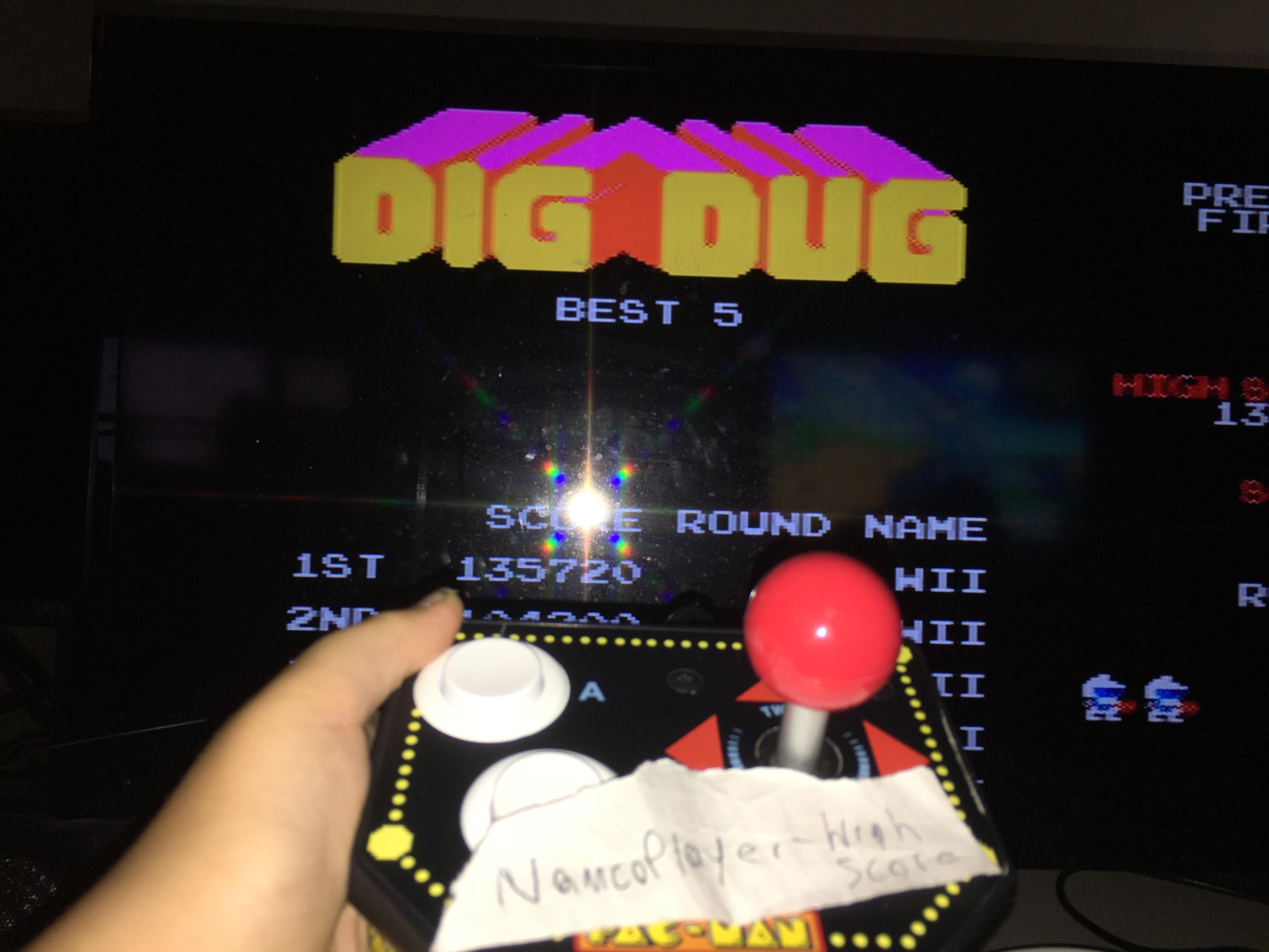 NamcoPlayer: Dig Dug (Jakks Pacific Retro Arcade Pac-Man) 135,720 points on 2020-08-28 11:58:41