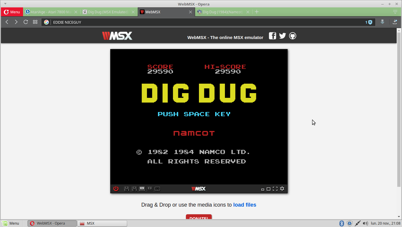 EddieNiceguy: Dig Dug (MSX Emulated) 29,590 points on 2017-11-20 14:09:09